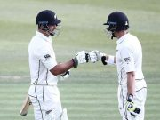 Colin de Grandhomme and Mitchell Santner of New Zealand