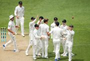 Trent Boult of New Zealand celebrates with teammates