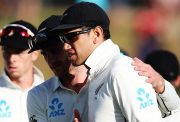 Kane Williamson congratulates Ross Taylor