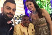 Virat Kohli & Anushka Sharma with the Sri Lankan fan Gayan Senanayake. (Photo Source: Twitter)