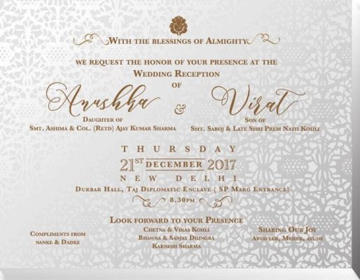 Here's a look at the invitation card of Wedding reception