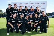 Kane Williamson of New Zealand hold the series trophy