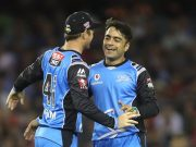 Adelaide Strikers' Rashid Khan and David Warner