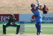 Shubman Gill plays a shot for India U19 team
