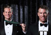 David Warner and Steve Smith of Australia
