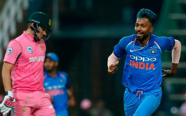 Hardik Pandya of India and David Miller of South Africa