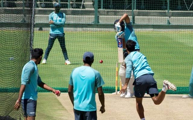 India's cricket team players take part in a training session