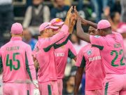 South Africa Aiden Markram celebrates with teammates