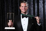 Steve Smith poses with the Allan Border Medal and the award for Test Player of the Year