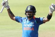 Virat Kohli celebrates his hundred