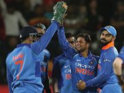 Virat Kohli and Kuldeep Yadav of India