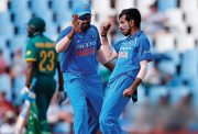 Yuzvendra Chahal and Rohit Sharma of India