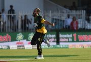 Imran Tahir celebrates his hat-trick