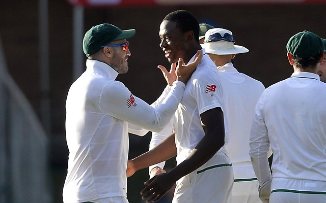 Faf du Plessis of South Africa celebrates with Kagiso Rabada
