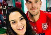 Aaron Finch with the happy boss Preity Zinta