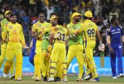 Chennai Super Kings celebrate after winning against Mumbai Indians
