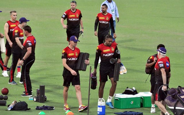 Kolkata Players of Kolkata Knight Riders during a practice session at Eden Gardens