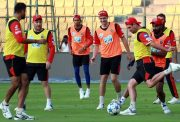 Royal Challengers Bangalore players during a practice session