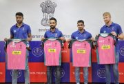 Krishnappa Gowtham, Ajinkya Rahane, Mahipal Lomror and Heinrich Klassen reveal the special jersey ahead of cancer Out match