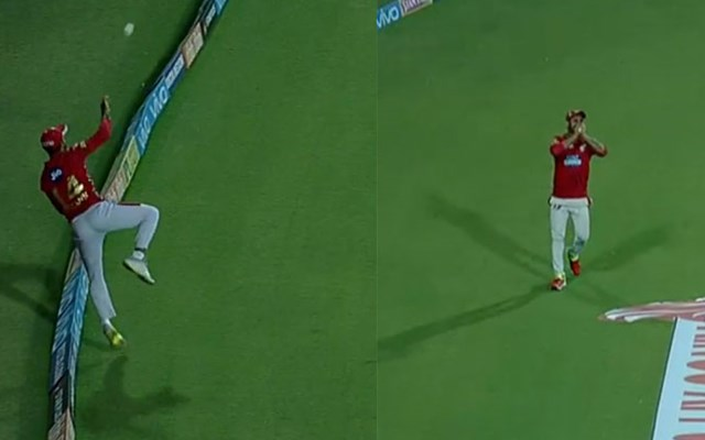 Mayank Agarwal, Manoj Tiwari join forces for relay catch during IPL match