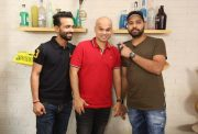 Ajinkya Rahane and Rohit Sharma with Vikram Sathaye