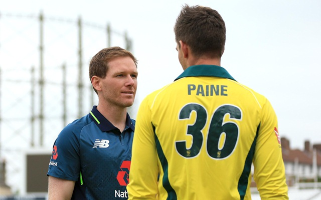 Australian Captain Tim Paine and England Captain Eoin Morgan