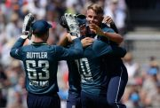 Sam Curran of England celebrates after dismissing Ashton Agar