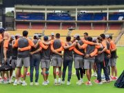 Indian players gather for the practice session
