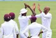 Windies cricketers celebrate a dismissal