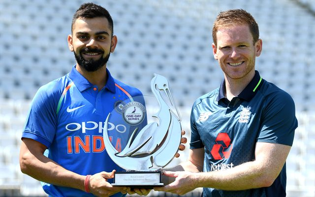 India captain Virat Kohli and England captain Eoin Morgan hold the Royal London series trophy at Trent Bridge on July 11, 2018 in Nottingham, England. (Photo by Gareth Copley/Getty Images)