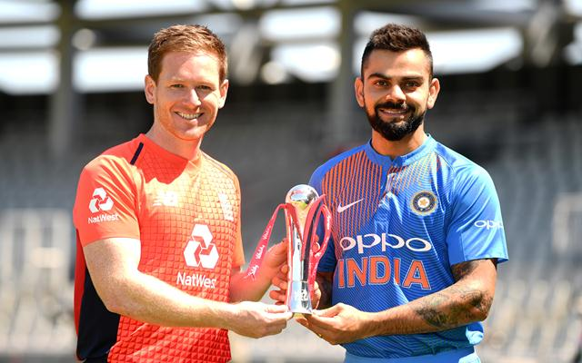 England captain Eoin Morgan and India captain Virat Kohli hold the series trophy
