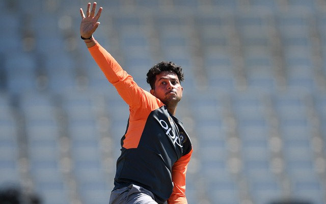 Kuldeep Yadav of India bowls during a net session