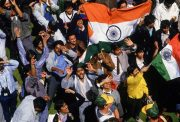 Indian fans celebrate victory after the First Test match between England and India held at Lord's Cricket Ground