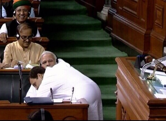 Rahul Gandhi Hugged PM in Parliment during No Confidence Motion