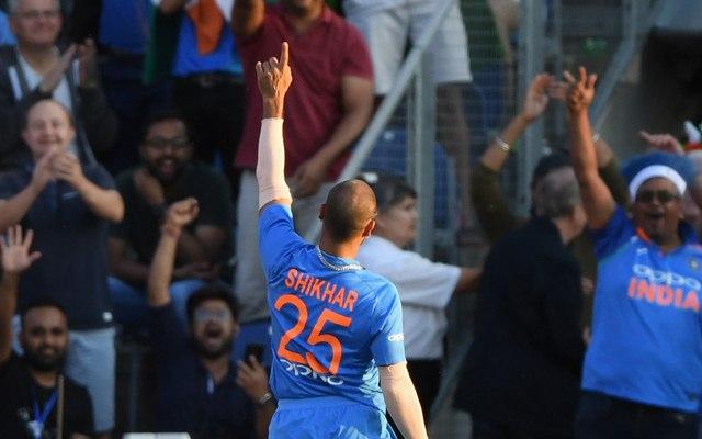 India fielder Shikhar Dhawan celebrates