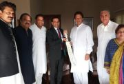 Indian High Commissioner to Pakistan Ajay Bisaria gifted a cricket bat to Imran Khan with autographs of the entire Indian cricket team