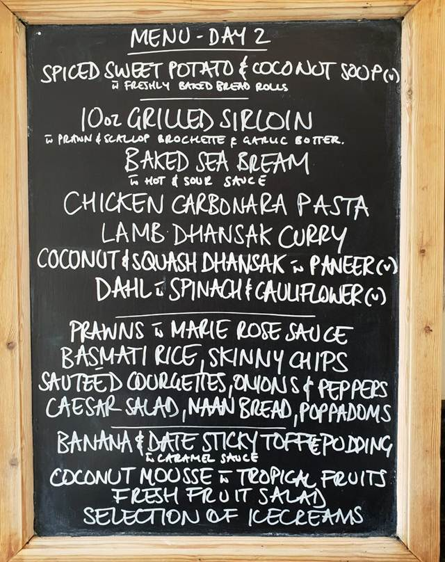 Day Two lunch menu