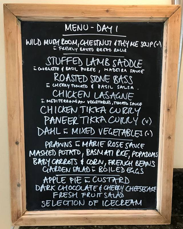 Lunch menu at the Lord's