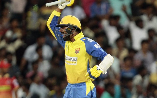 N Jagadeesan of Dindigul Dragons celebrates