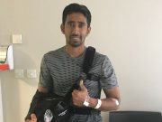 Wriddhiman Saha gives a thumbs-up after his successful surgery