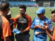 Deepak Chahar receives his debut cap from Ravi Shastri
