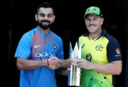 Virat Kohli of India and Aaron Finch of Australia