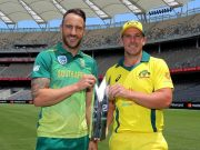 Faf du Plessis of South Africa and Aaron Finch of Australia