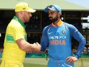 Aaron Finch of Australia and Virat Kohli of India