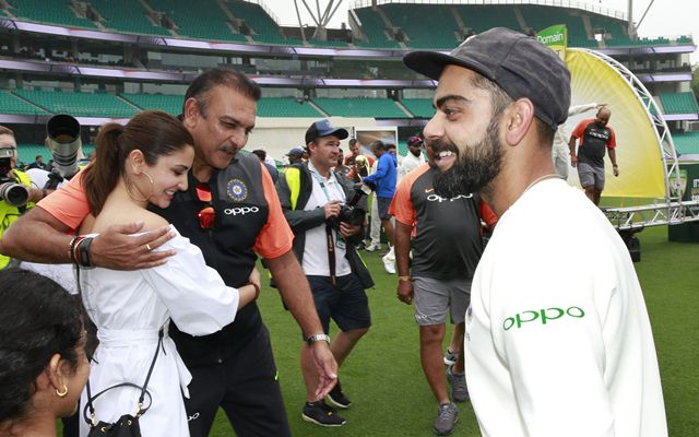 Ravi Shastri hugs Anushka Sharma, wife of Virat Kohli