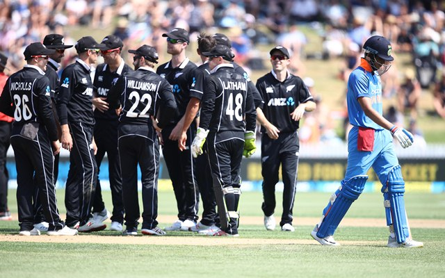 Shubman Gill of India leaves the field
