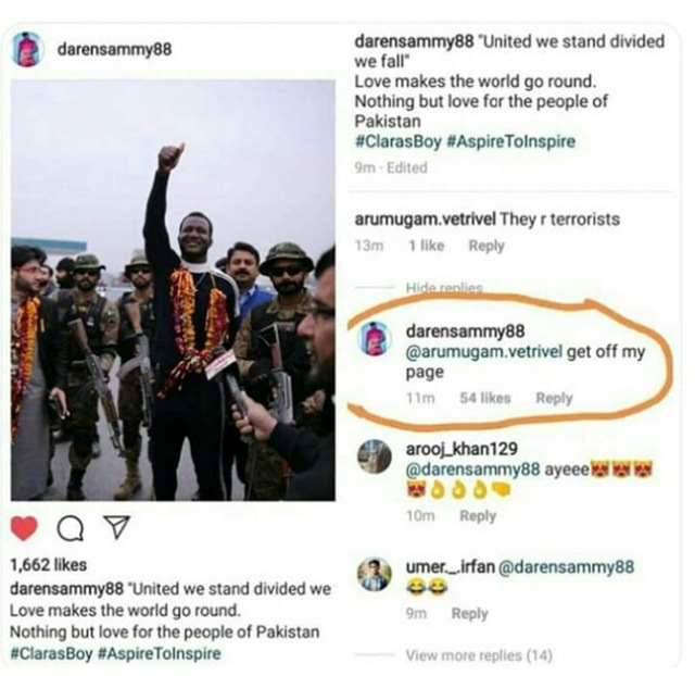 Darren Sammy's reply