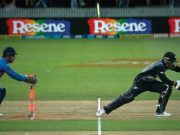 MS Dhoni of India dismissing Tim Seifert of New Zealand