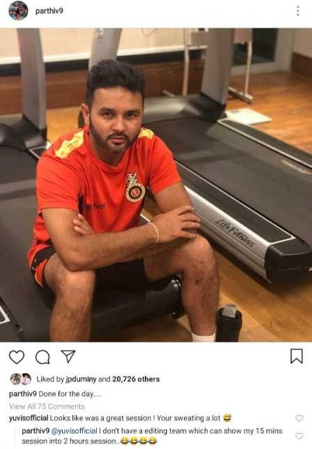 Parthiv Patel's reply to Yuvraj Singh's comment