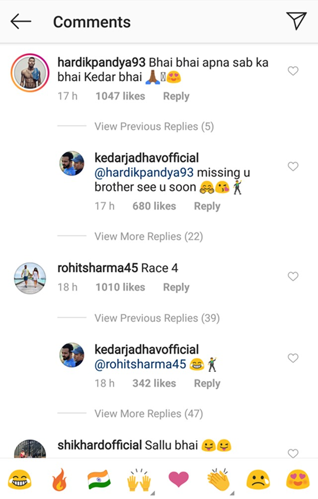 Comments on Kedar Jadhav's Instagram post